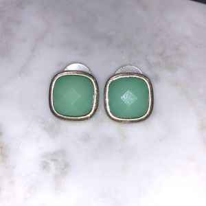 Spring style gold and green stud earrings.